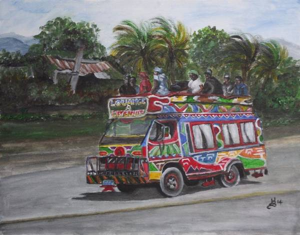 Wall Art - Painting - Haitian Tap Tap Bus by Kim Selig