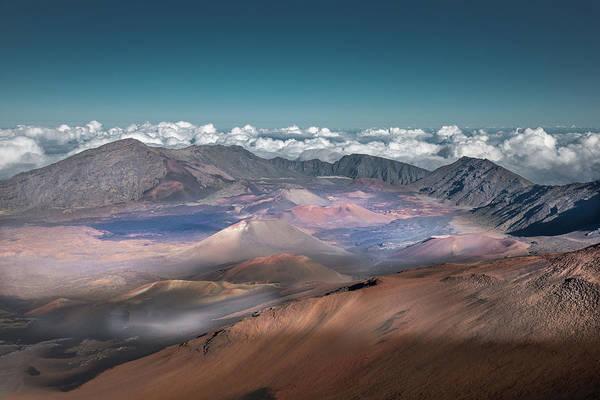 Haleakala Crater Photograph - Haleakala Volcano Cinder Cones Above by William Toti