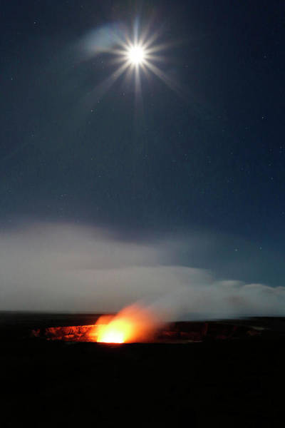 Volcanic Craters Photograph - Halemaumau Volcanism At Night by Michael Szoenyi