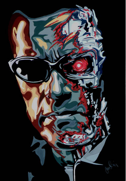 The Terminator Painting - Half Arnold by Ian  King