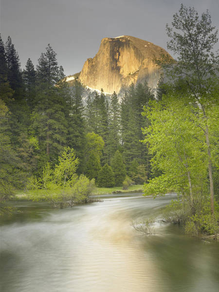 Wall Art - Photograph - Half Dome And The Merced River At Sunset by Richard Berry