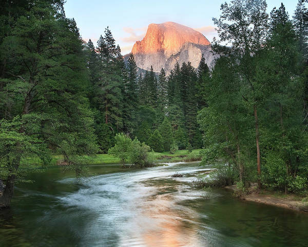 Alpenglow Photograph - Half Dome With Sunset Over Merced River by Tom Norring
