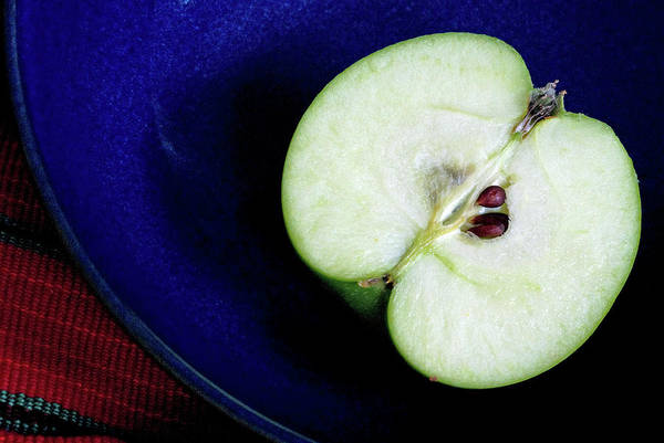 Healthy Eating Photograph - Half Of A Green Apple In A Blue Bowl by Rebecca E Marvil