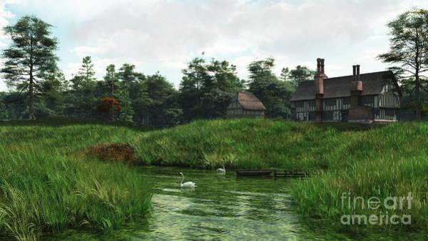Fairy Pools Digital Art - Half-timbered Lakeside Manor House by Fairy Fantasies
