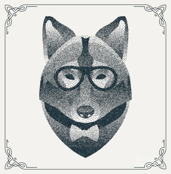 Wall Art - Digital Art - Halftone, Dotwork Hipster Wolf With by Krol
