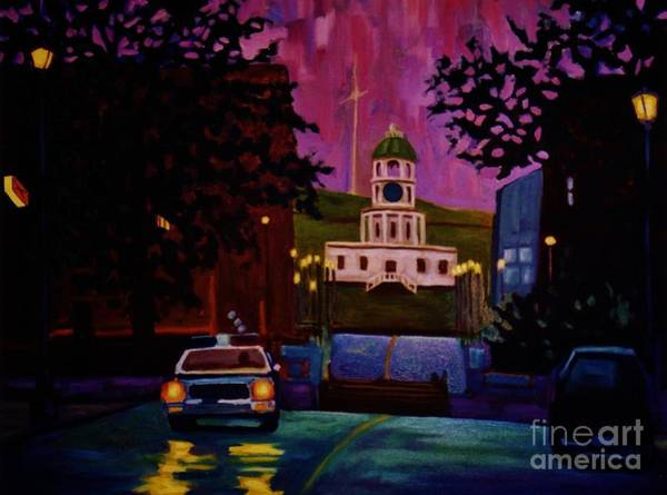 Halifax Wall Art - Painting - Halifax Night Patrol And Town Clock by John Malone