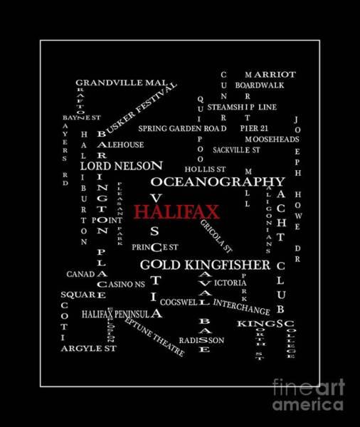 Halifax Nova Scotia Digital Art - Halifax Nova Scotia Crosswords Red by Barbara Griffin