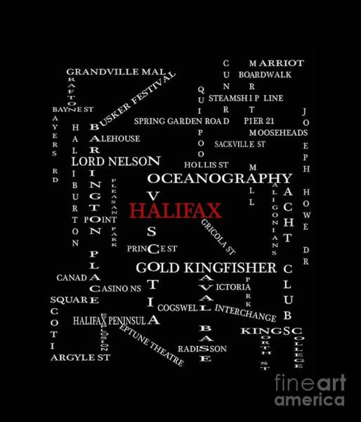 Halifax Nova Scotia Digital Art - Halifax Nova Scotia Landmarks And Streets by Barbara Griffin