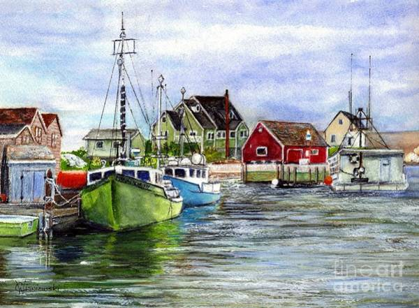 Nova Scotia Painting - Peggys Cove Nova Scotia Watercolor by Carol Wisniewski