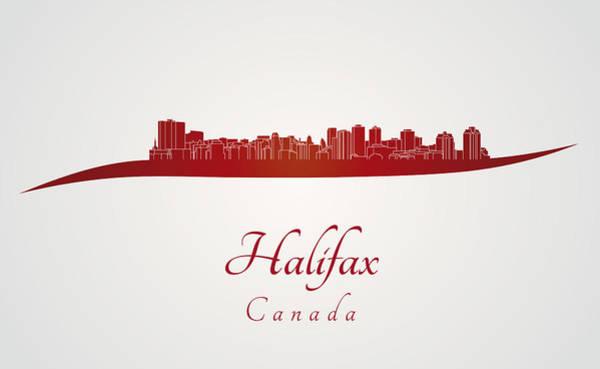 Halifax Nova Scotia Digital Art - Halifax Skyline In Red by Pablo Romero