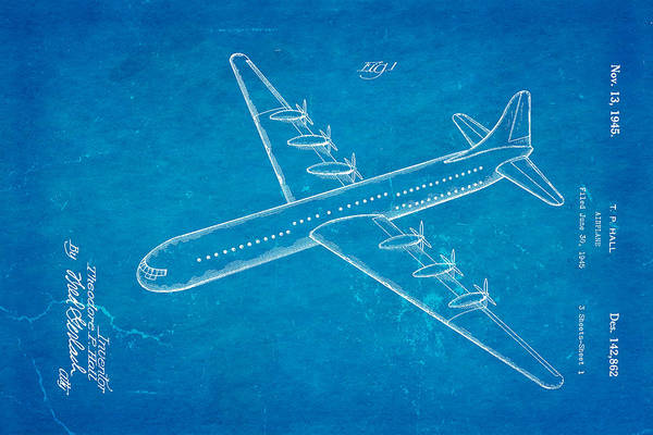 Monk Photograph - Hall Xc 99 Airplane Patent Art 1945 Blueprint by Ian Monk