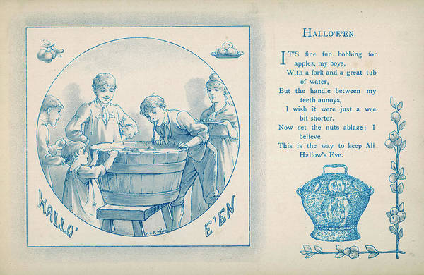 Bobbing For Apples Wall Art - Drawing - Hallo'e'en  Young Boys Have Fun by Mary Evans Picture Library