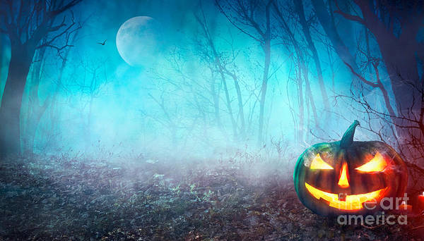 Seasonal Photograph - Halloween Background. Spooky Pumpkin by Mythja