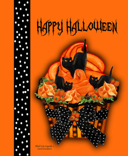 Mixed Media - Halloween Black Cat Cupcake 3 by Carol Cavalaris