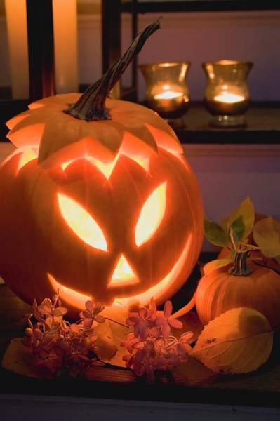 Cucurbit Photograph - Halloween Decoration: Pumpkin Lantern by Foodcollection