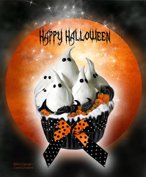 Mixed Media - Halloween Ghost Cupcake 1 by Carol Cavalaris