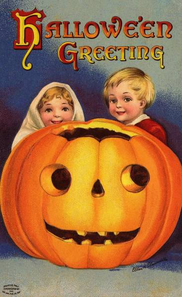 Carving Painting - Halloween Greeting by Ellen Hattie Clapsaddle