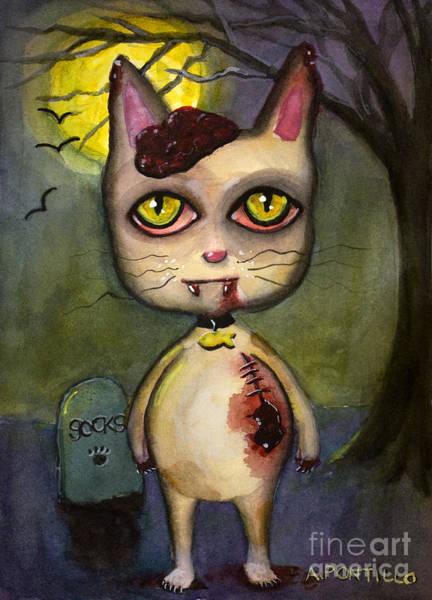Zombie Cat Painting - Halloween Kitty Cat Zombie by Andrea Pontillo