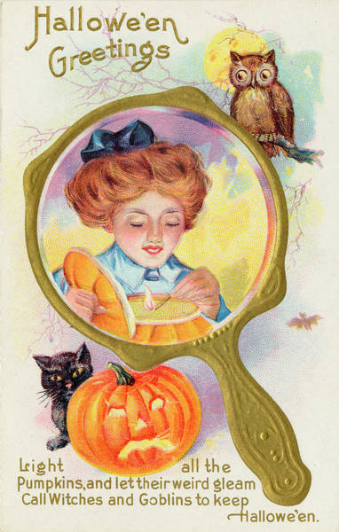 Early 20th Century Drawing - Hallowe'en Magic - Lighting by Mary Evans Picture Library
