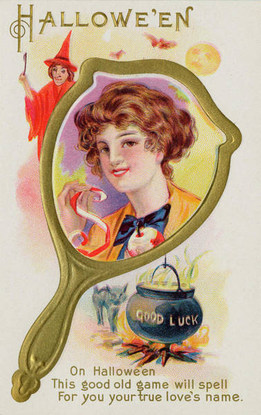 Early 20th Century Drawing - Hallowe'en Magic - The First  Letter by Mary Evans Picture Library
