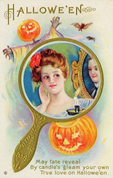 Early 20th Century Drawing - Hallowe'en Magic - Your True  Love by Mary Evans Picture Library