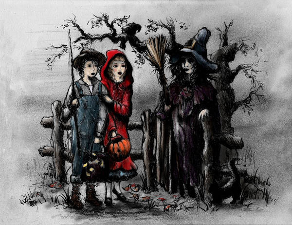 Holiday Drawing - Halloween Night by Rachel Christine Nowicki