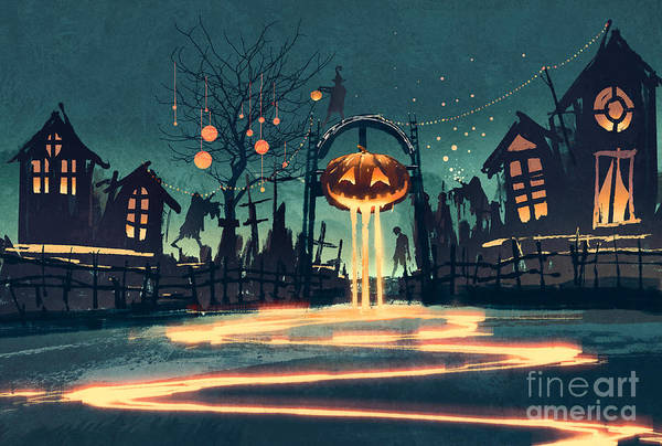 Graveyard Wall Art - Digital Art - Halloween Night With Pumpkin And by Tithi Luadthong