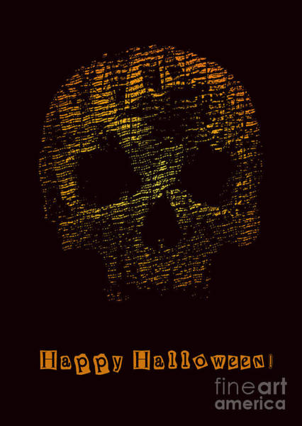 Wall Art - Digital Art - Halloween Poster With Skull. Vector by Jumpingsack