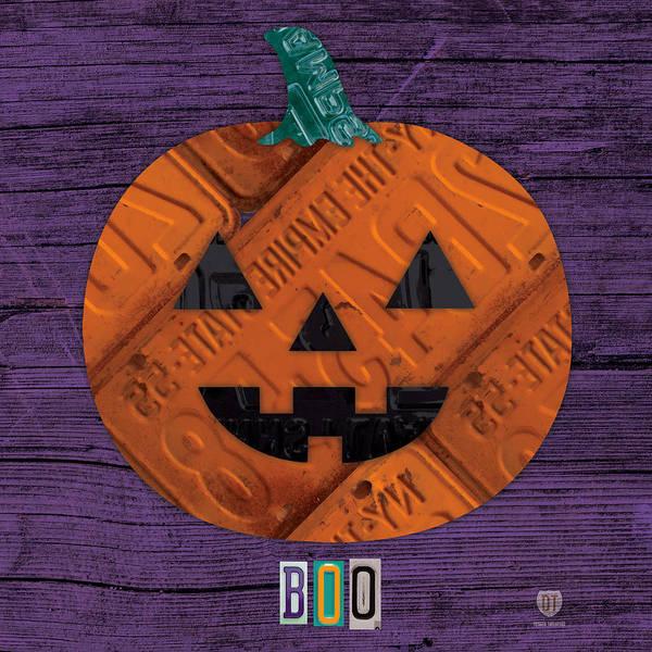 Boo Wall Art - Mixed Media - Halloween Pumpkin Holiday Boo License Plate Art by Design Turnpike