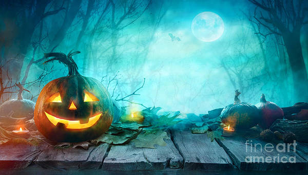 Haunted Wall Art - Photograph - Halloween Pumpkins On Wood. Halloween by Mythja