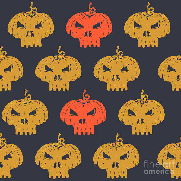 Wall Art - Digital Art - Halloween Seamless Pattern With by Kirill Kalchenko