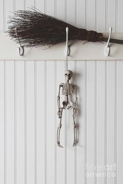 Photograph - Halloween Skeleton Hanging On Coathook by Sandra Cunningham