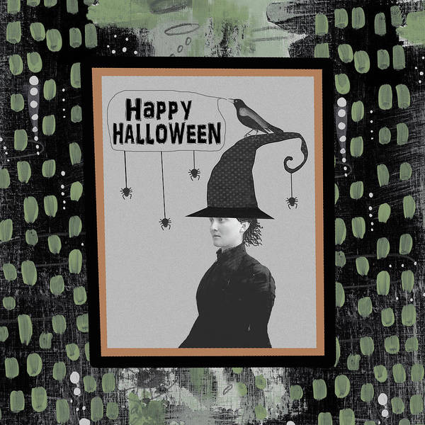 Halloween Painting - Halloween Witch And Crow by Sarah Ogren