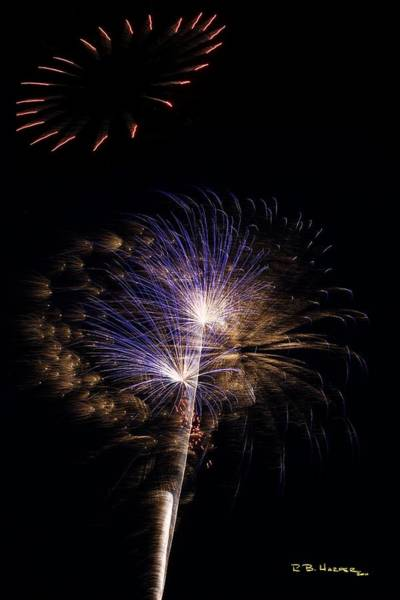 Photograph - Haloed Fireworks At St Albans Bay by R B Harper