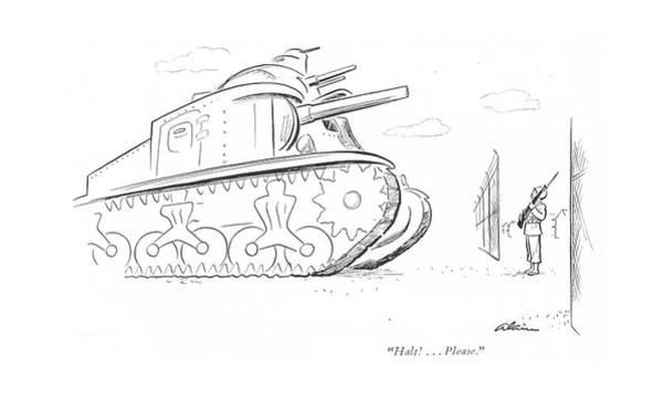 Sentry Wall Art - Drawing - Halt! . . . Please by  Alain