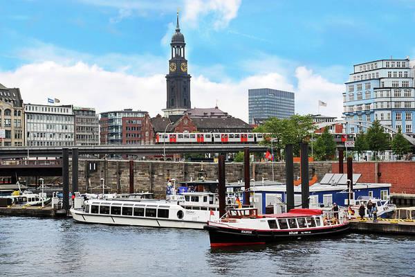 Motor Boat Photograph - Hamburg, Germany, Tour Boats Docked by Miva Stock
