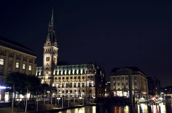 Rathaus Photograph - Hamburg Rathaus By The Canal by John Rizzuto