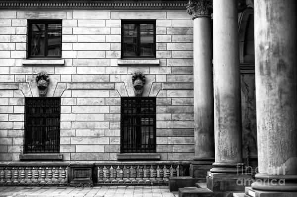 Rathaus Photograph - Hamburg Rathaus Columns Mono by John Rizzuto