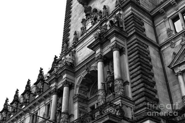Rathaus Photograph - Hamburg Rathaus Decor Mono by John Rizzuto