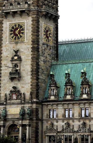 Rathaus Photograph - Hamburg Rathaus Details by John Rizzuto