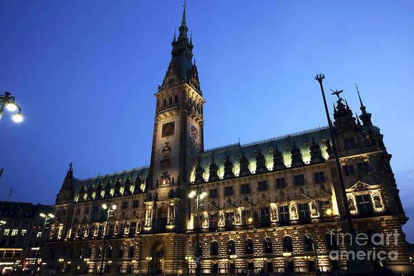 Rathaus Photograph - Hamburg Rathaus Night Lights by John Rizzuto