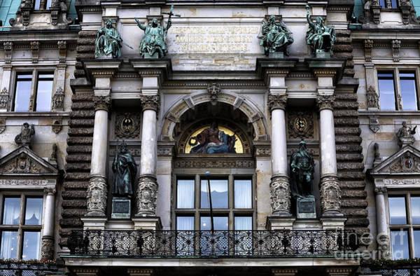 Rathaus Photograph - Hamburg Rathaus Window by John Rizzuto