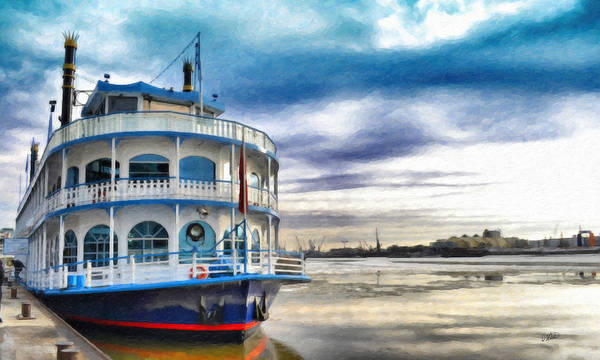 Painting - Hamburg River Boat Ger5044 by Dean Wittle