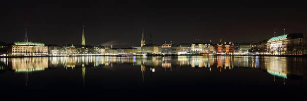 Photograph - Hamburg Skyline At Night by Marc Huebner
