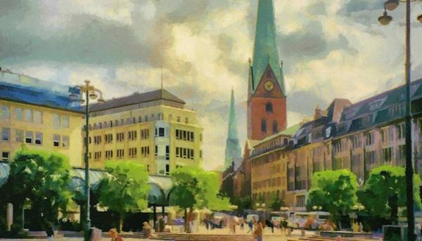 Painting - Hamburg Street Scene by Jeffrey Kolker