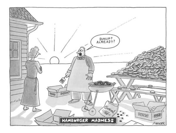 Man And Woman Drawing - Hamburger Madness by Jack Ziegler