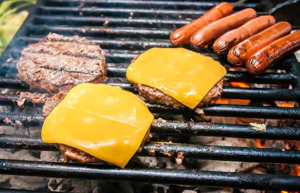 Photograph - Hamburgers With Cheese And Hot Dogs On Grille by Alex Grichenko
