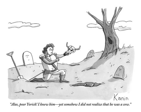 Poor Drawing - Hamlet Kneels In The Graveyard Holding The Skull by Zachary Kanin