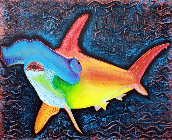 Wall Art - Painting - Hammerhead Shark by Laura Barbosa