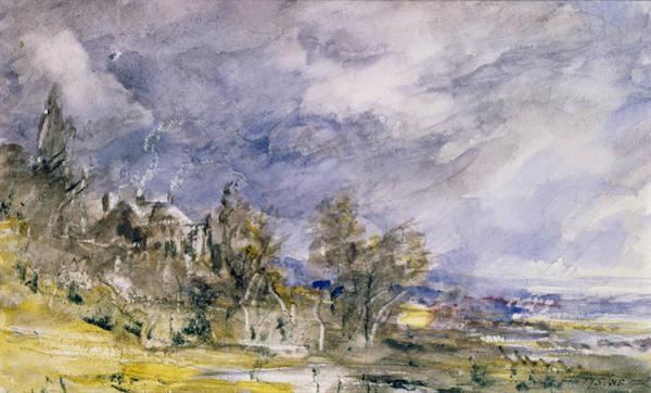 Rain Drawing - Hampstead Heath From Near Well Walk by John Constable